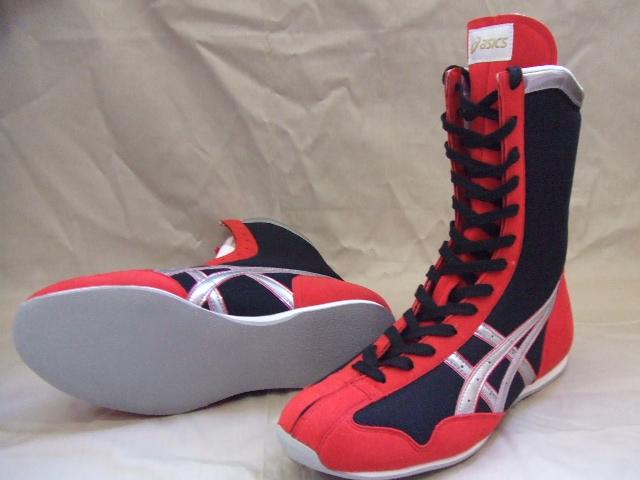 アシックスボクシングシューズ(黒x赤xシルバーライン)