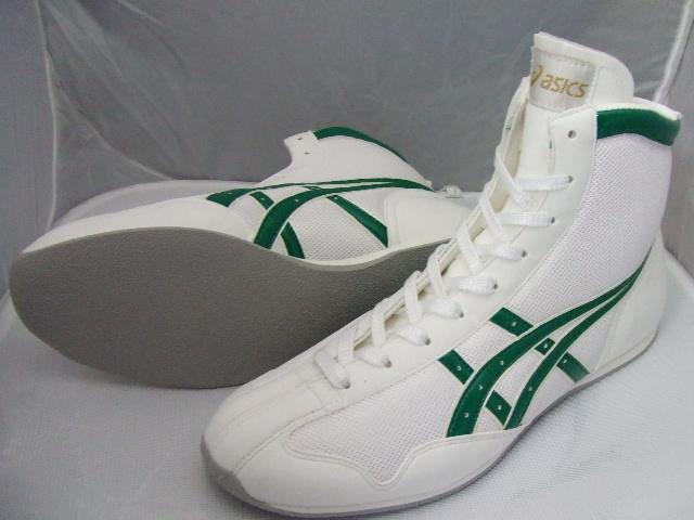 【お届けまで40日程度 現在一部サイズ在庫あり】アシックスショートボクシングシューズ アメリカ屋オリジナルカラー白xグリーン
