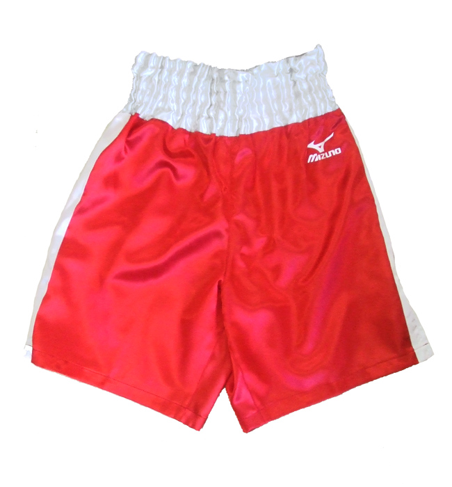Satin Mizuno boxing shorts (red x silver)
