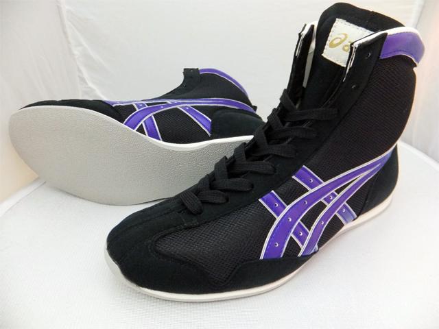 アシックスショート boxing shoes America-ya original color black / grayish purple