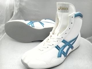 アシックスショートボクシングシューズアメリカ屋オリジナルカラー 白×アイスブルー