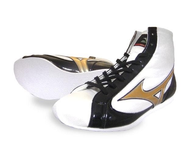 ミズノショートボクシングシューズ(白xゴールド×黒)オリジナルシューズバッグ付(ボクシング用品・リングシューズ)