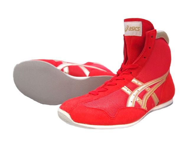 アシックスショートボクシングシューズアメリカ屋オリジナルカラー 赤×ゴールドxふち赤