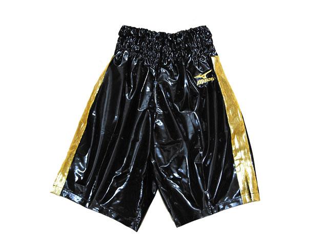 ミズノボクシングトランクス 黒(エナメル)×ゴールド