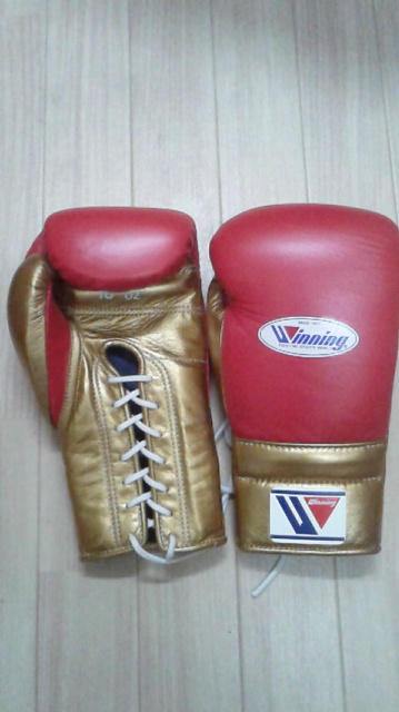 Limited item by AMERICA-YA specil price  Winning Prifessiona lace up gloves 16 oz  in Red x Gold