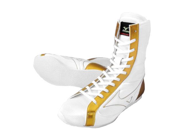 アメリカ屋オリジナルカラー・ミズノボクシングシューズミドル(白xゴールドライン)オリジナルシューズバッグ付