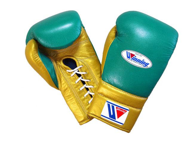 【特別価格・限定商品】16オンス グリーン×ゴールド Winning ウイニング練習用 ボクシング グローブ (プロタイプ)