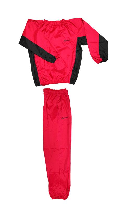 日本製 サウナスーツ・プロボクサーの必需品 アメリカ屋オリジナル減量着上下セットフードのないタイプ赤×黒 ブラック刺繍ロゴ