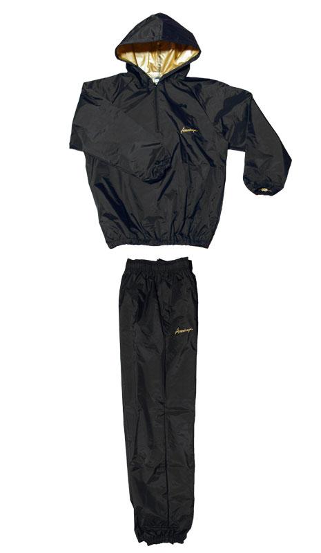 日本製 サウナスーツ・プロボクサーの必需品 アメリカ屋オリジナル減量着上下セットフード付タイプ黒xゴールドロゴ 裏地もゴールド