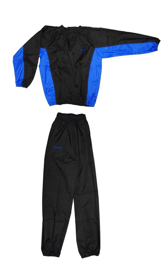 日本製 サウナスーツ・プロボクサーの必需品 アメリカ屋オリジナル減量着上下セットフードのないタイプ黒×ブルー ブルー刺繍ロゴ