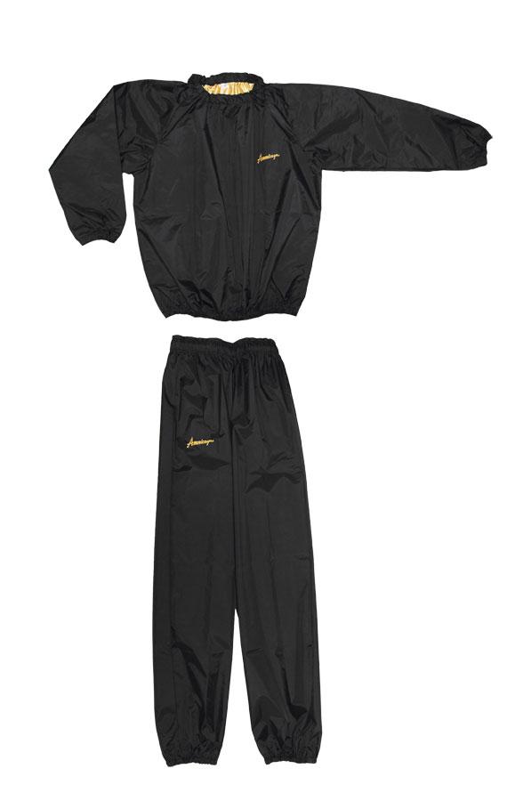 日本製 サウナスーツ・プロボクサーの必需品 アメリカ屋オリジナル減量着上下セットフードのないタイプ黒 ゴールド刺繍ロゴ 裏地ゴールド