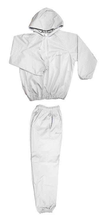 日本製 サウナスーツ・プロボクサーの必需品 アメリカ屋オリジナル減量着上下セットフード付タイプ白xシルバーロゴ ポケット付