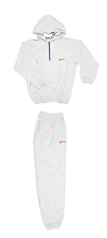 日本製 サウナスーツ・プロボクサーの必需品 アメリカ屋オリジナル減量着上下セットフード付タイプ白xレッドアメリカ屋ロゴネイビーチャック 新カラー