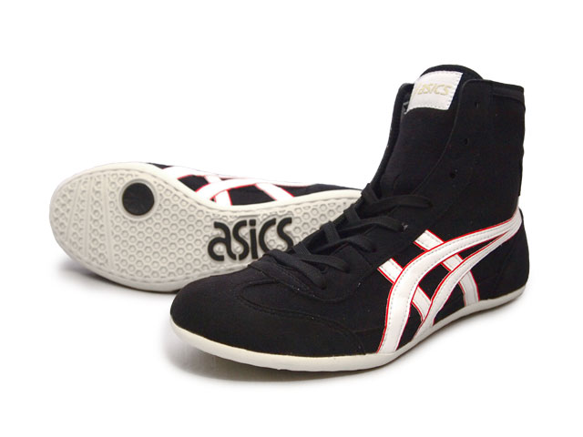 cbdb77ffe14135 ASICS EX-EO Wrestling Shoes Black x White x red AMERICA-YA original color  for professional use
