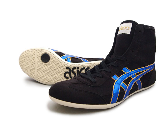 8d52d8417b1170 ASICS EX-EO Wrestling Shoes Black x Blue x gold AMERICA-YA original color