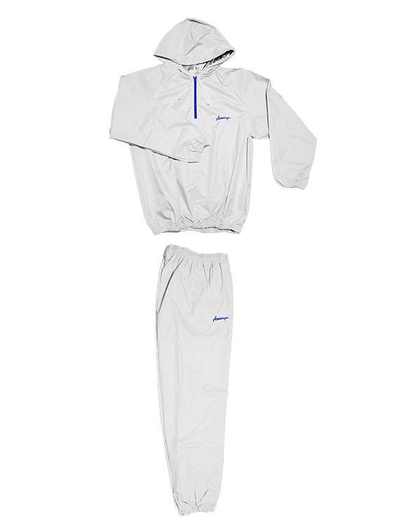 日本製 サウナスーツ・プロボクサーの必需品 アメリカ屋オリジナル減量着上下セットフード付タイプブルーチャック 白xブルーロゴ