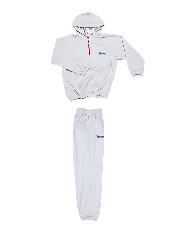 日本製 サウナスーツ・プロボクサーの必需品 フード付タイプホワイト  裏地シルバー