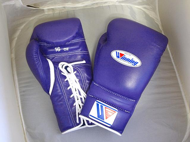 16オンス パープル Winning ウイニング練習用 ボクシング グローブ (ひもタイプ)