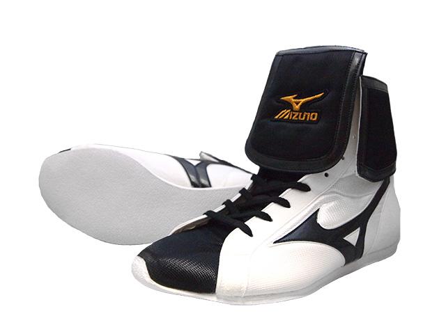 Amerikaya original color (white x black x black line) Mizuno lapel type boxing shoes with original shoes bag
