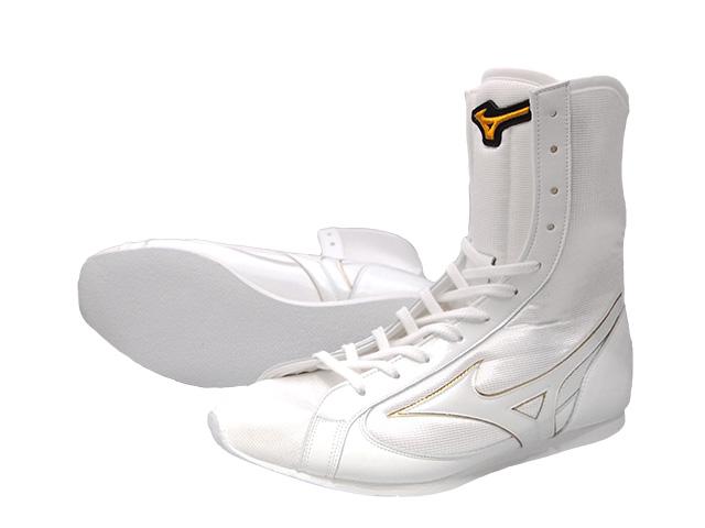 アメリカ屋オリジナルカラー・ミズノボクシングシューズミドル白x白xゴールド(ワッペン)オリジナルシューズバッグ付
