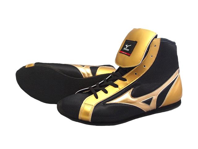 ミズノショートボクシングシューズ(当店オリジナル黒xゴールドかかとゴールド)オリジナルシューズバッグ付(ボクシング用品・リングシューズ)