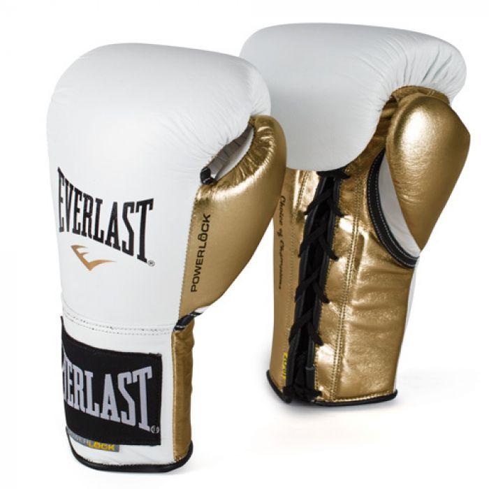 EVERLAST POWERLOCK公式試合用ボクシンググローブ10オンス 白x金