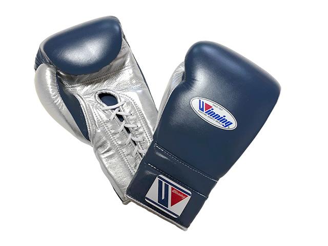 【特別価格・限定商品】16オンス ネイビー×シルバー Winning ウイニング練習用 ボクシング グローブ (プロタイプ)