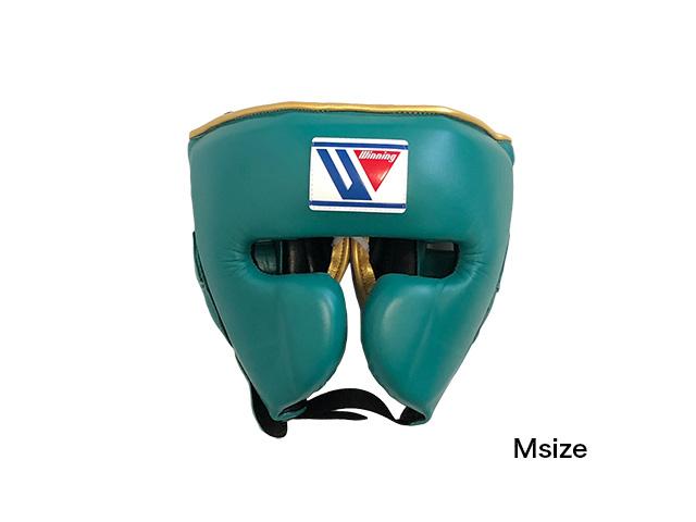 【限定商品】Winning おすすめヘッドギア特別カラー・グリーンxゴールド(ヘリ)ウイニング練習用ヘッドガードフェイスガードタイプ