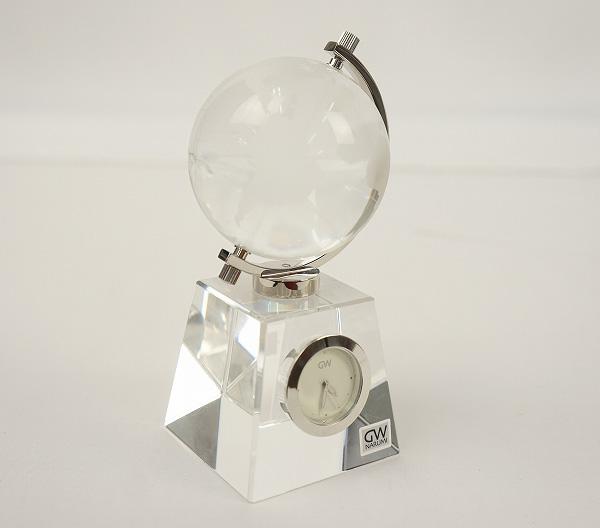 NARUMI社 グローブ(地球儀) 置き時計 【ナルミ】【時計】【スケルトン】【透明】【オシャレ】【置物】【家具】【中古】