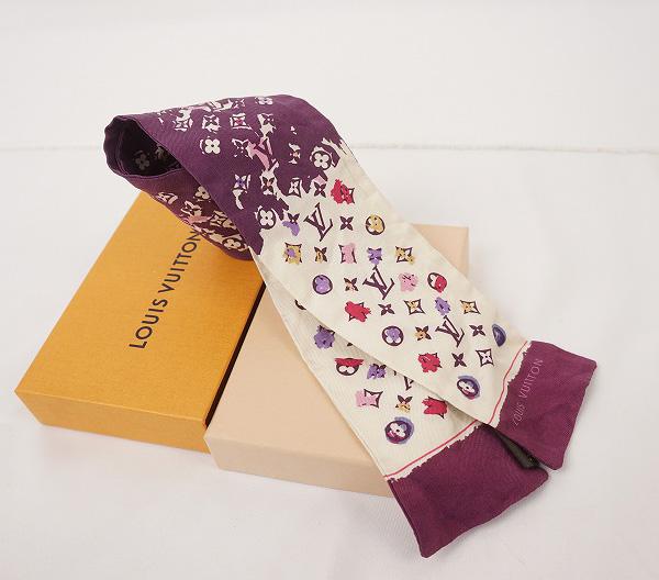 LOUIS VUITTON ルイ・ヴィトンバンドー スカーフシルク100%・パープル【LOUIS VUITTON】【ルイヴィトン】【スカーフ】【シルク】【バンドー】【紫】【中古】