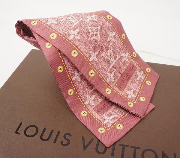 LOUIS VUITTON ルイ・ヴィトンバンドー スカーフシルク100%・デニム・ピンク【LOUIS VUITTON】【ルイヴィトン】【スカーフ】【シルク】【バンドー】【デニム】【中古】