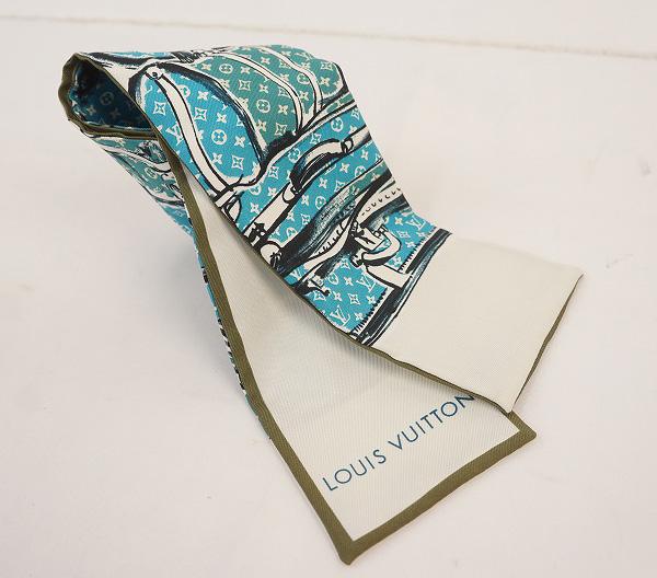 LOUIS VUITTON ルイ・ヴィトンバンドー スカーフ M75696シルク100%・ブルー・ホワイト【LOUIS VUITTON】【ルイヴィトン】【スカーフ】【シルク】【バンドー】【ホワイト】【中古】