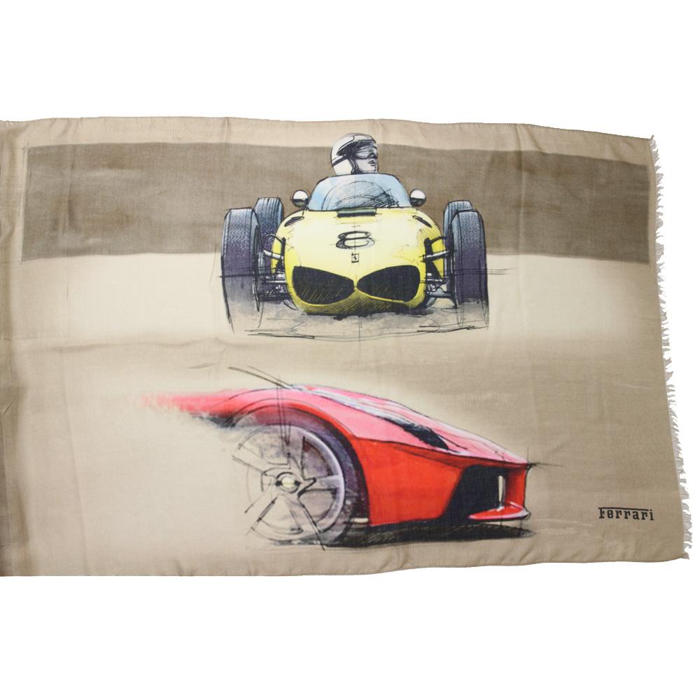 フェラーリ CARS パッチワーク プリント スカーフ ベージュ