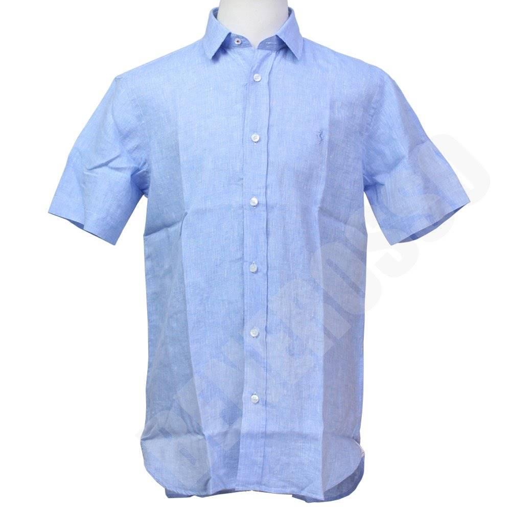 フェラーリ メンズ リネンシャツ 半袖 アズールブルー