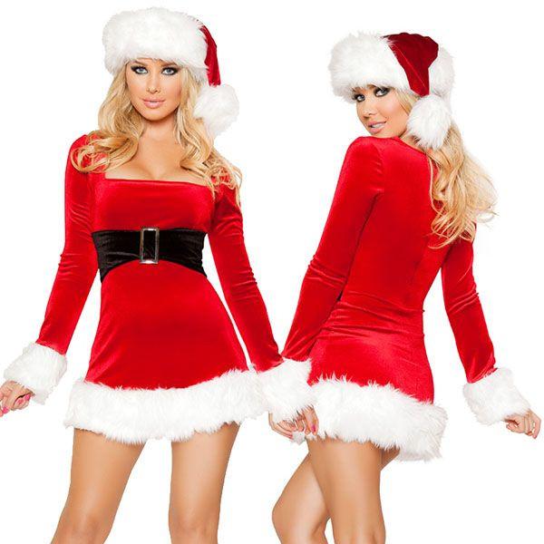 海外ブランド ROMA ローマ クリスマス コスプレ レディース サンタ コスチューム 海外 衣装 赤ベルベット 黒ベルト付 ミニドレス/大人 仮装 パーティー イベント