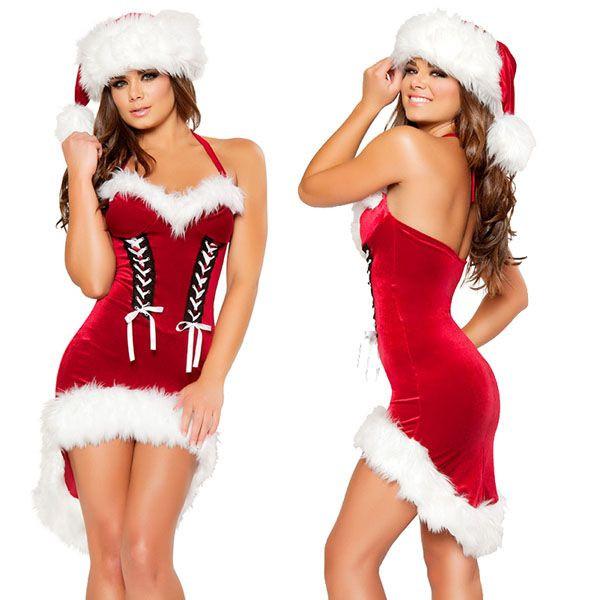 海外ブランド ROMA ローマ クリスマス コスプレ レディース サンタ コスチューム 海外 衣装 赤ベルベットリボン付 ミニドレス/大人 仮装 パーティー イベント