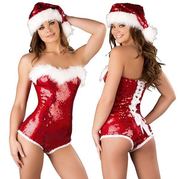 海外ブランド ROMA ローマ クリスマス コスプレ レディース サンタ コスチューム 海外 衣装 赤スパンコール、背中レースUPロンパース/大人 仮装 パーティー イベント