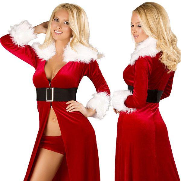 海外ブランド ROMA ローマ クリスマス コスプレ レディース サンタ コスチューム 海外 衣装 赤ベルベット 白ファー縁取りロングドレス&ショーツセット/大人 パーティー イベント