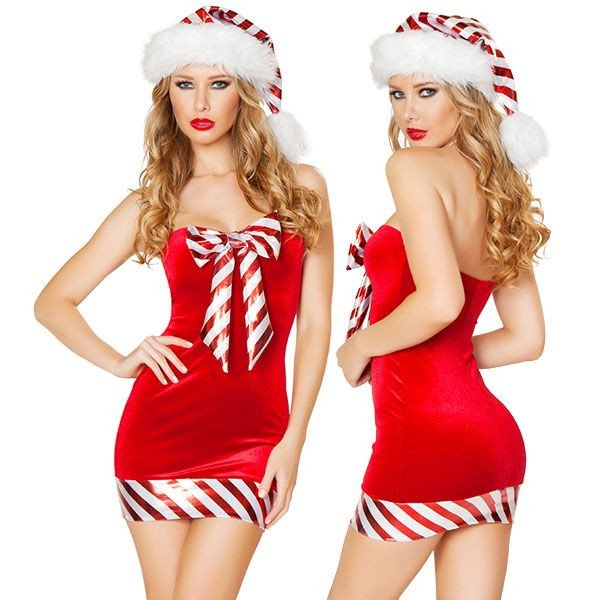 海外ブランド ROMA ローマ クリスマス コスプレ レディース サンタ コスチューム 海外 衣装 赤ベルベット キャンディーストライプミニドレス/大人 仮装 パーティー イベント