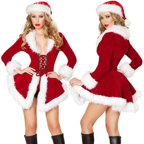 海外ブランド ROMA ローマ クリスマス コスプレ レディース サンタ コスチューム 海外 衣装 赤ベルベット 白ファー縁取りコート&黒ショーツセット/大人 仮装 パーティー イベント