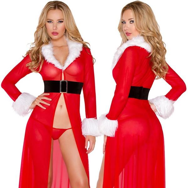 海外ブランド ROMA ローマ クリスマス 海外ブランド レディース コスプレ サンタ コスチューム 衣装 赤シースルー ロングドレス Gショーツ/大人 仮装 パーティー イベント