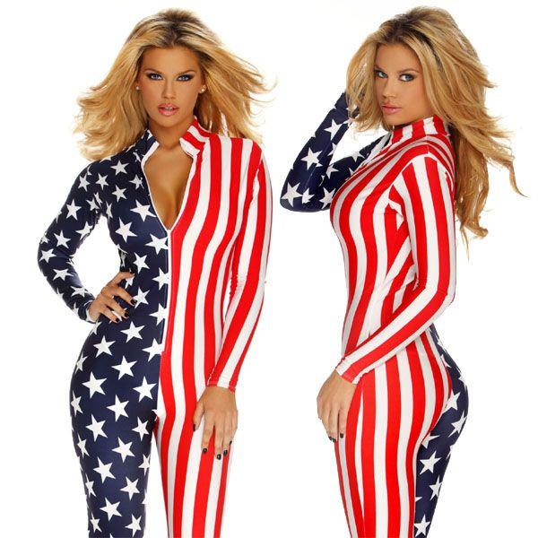 【売れ筋】海外ブランド ForPlay フォープレイ ジャンプスーツ 全身アメリカン星条旗柄ボディー、フロントジッパージャンプスーツ/ワンピース・パーティ・クラブ・衣装