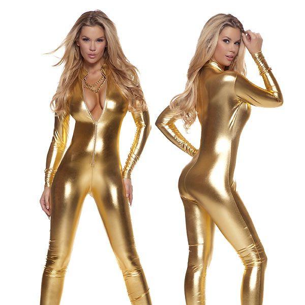 海外ブランド ForPlay フォープレイ レディースファッション ジャンプスーツ モックネック メタリック フロントジッパー ジャンプスーツ ワンピース ダンス衣装