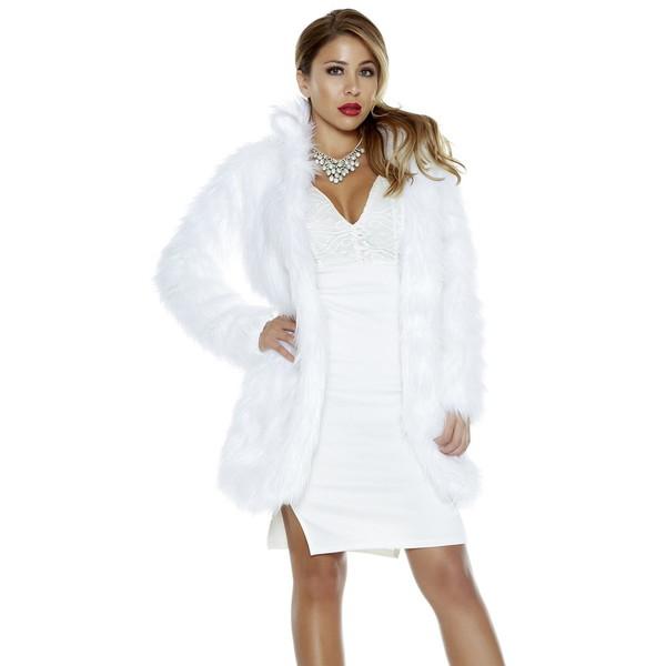 海外ブランド ForPlay フォープレイ フェイクファー ミディアム丈 ジャケット 衣装 ホワイト ファッションファー コート コスチューム