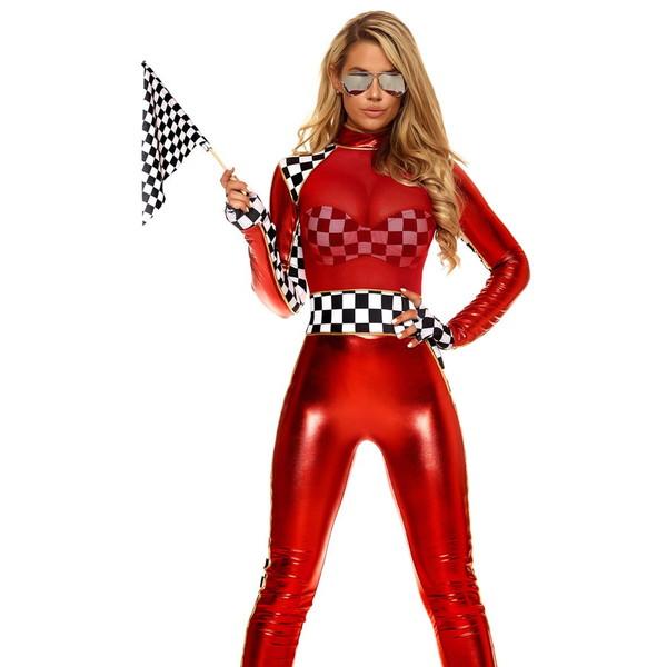 海外ブランド ForPlay フォープレイ レディース コスプレ 仮装 衣装 レーサー コスチューム3点セット レースクイーン キャットスーツ メタリック ワンピース