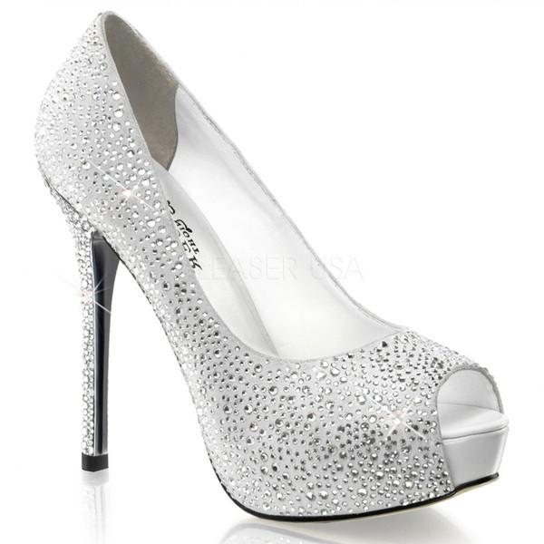 海外ブランド靴 レディース パンプス ハイヒール 5インチ12cmヒール ピープトゥ ラインストーン装飾