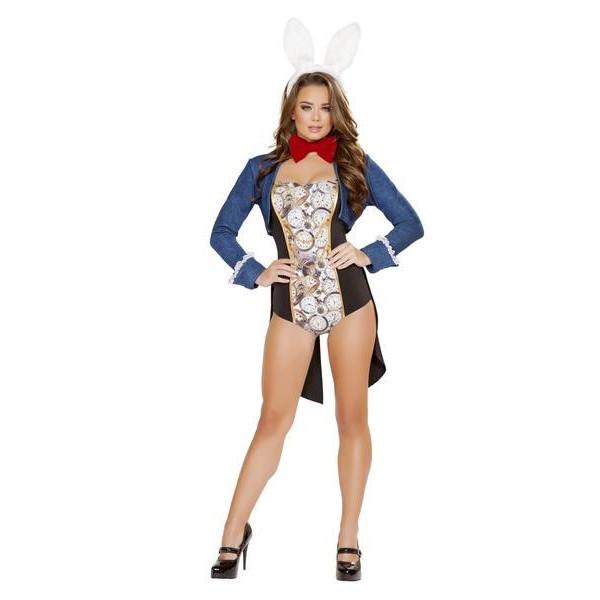 海外ブランド ROMA ローマ コスチューム 大人コスプレ ハロウィン衣装 童話 うさぎ キャラクター 4点セット 仮装 パーティー