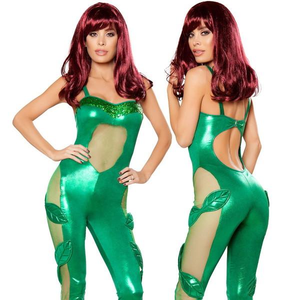 海外ブランド ROMA ローマ コスチューム レディースファッション コスプレ衣装 仮装 ラメグリーン 悪女 植物コスプレ キャットスーツ パーティー