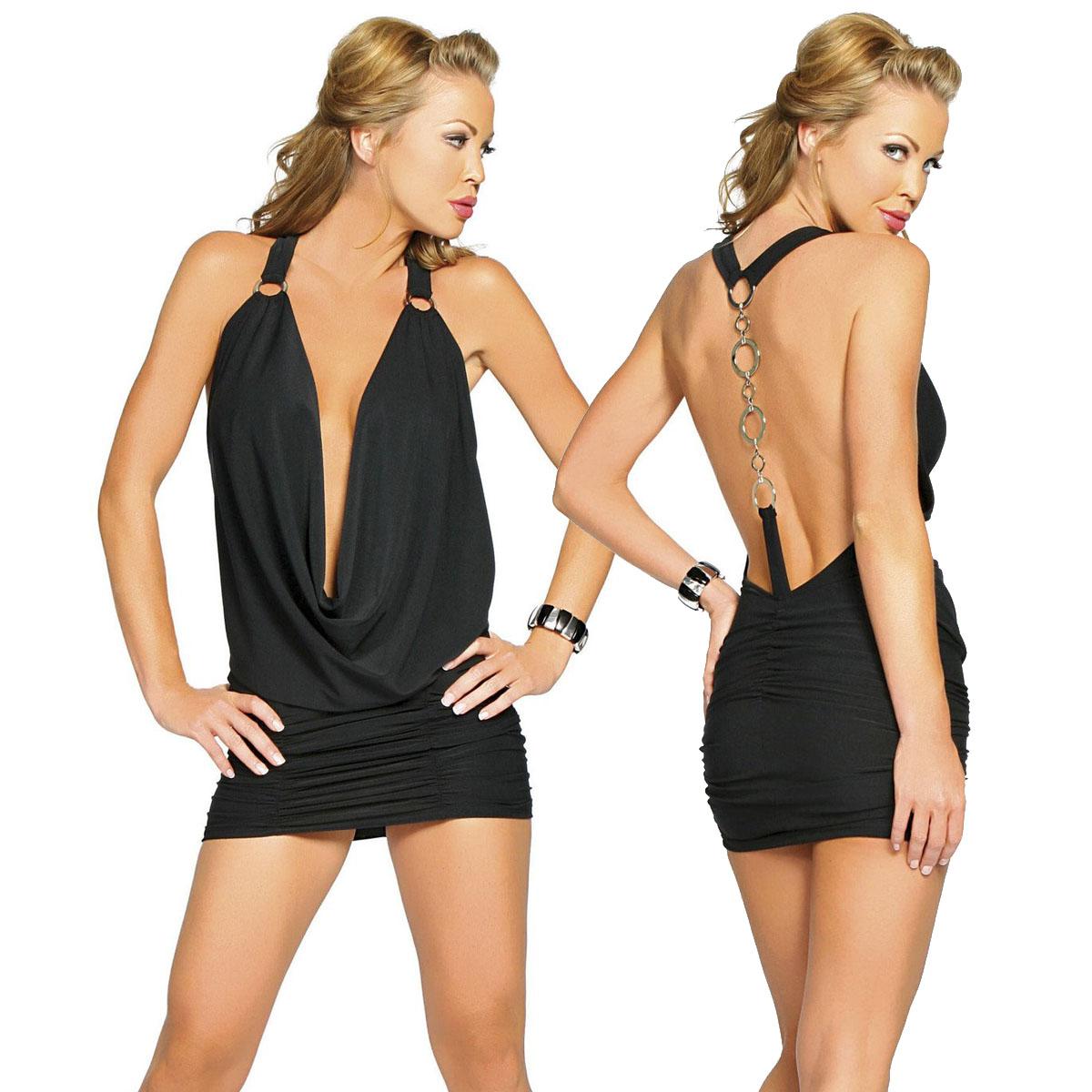 海外ブランド ROMA ローマ レディース レディース ミニ ドレス ワンピース衣装 バックOリングチェーン ドレープネック パーティー キャバドレス