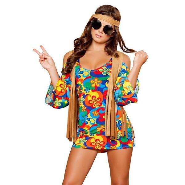 海外ブランド ROMA ローマ コスチューム ハロウィン コスプレ衣装 レディースファッション ウッドストック サイケデリックミニドレス3点セット パーティー イベント
